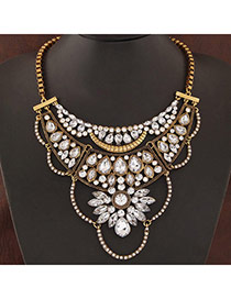 Swanky Bronze Gemstone Decorated Simple Design Alloy Bib Necklaces