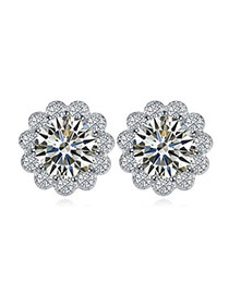 Luxurious White Diamond Decorated Flower Shape Design  Cuprum Crystal Earrings