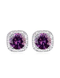 Luxurious Purple Diamond Decorated Square Shape Design  Cuprum Crystal Earrings