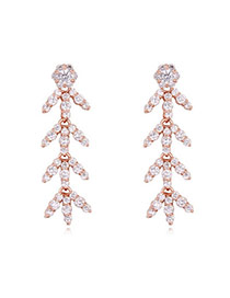 Luxurious Rose Gold Diamond Decorated Leaf Shape Design  Cuprum Crystal Earrings