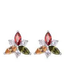Luxurious Multicolor Diamond Decorated Simple Design  Cuprum Crystal Earrings