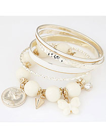 Exquisite White Beads Decorated Multilayer Design  Alloy Fashion Bangles