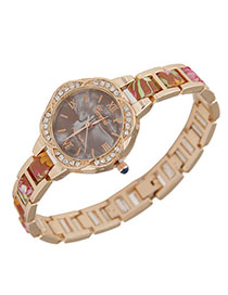 Exquisite Brown Flower Pattern Decorated Simple Design  Alloy Ladies Watches