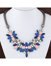 Sweet Multicolor Gemstone Decorated Flower Shape Design