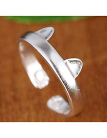 Sweet Silver Color Cat's Ear Shape Decorated Open Design  Alloy Korean Rings