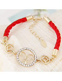 Exquisite Red Cavel Shape Decorated Weave Design Alloy Korean Fashion Bracelet