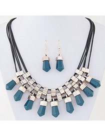 Exquisite Dark Green Gemstone Decorated Multilayer Design Alloy Jewelry Sets