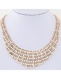 Exquisite Gold Color Diamond Decorated Weave Design