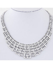 Exquisite Silver Color Diamond Decorated Weave Design