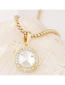 Swanky White&gold Color Diamond Decorated Round Pendant Design Alloy Chains