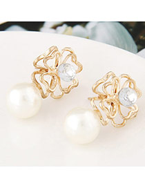 Fashion Gold Color Pearl Decorated Flower Shape Design  Alloy Stud Earrings