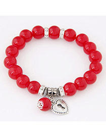Sweet Red Heart Shape Pendant Decorated Simple Design Alloy Korean Fashion Bracelet