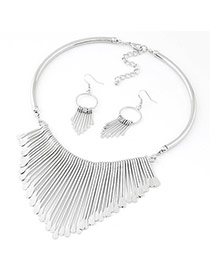 Fashion Silver Color Tassel Decorated Simple Design