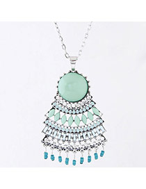 Fashion Green Gemstone Decorated Multilayer Pendant Design