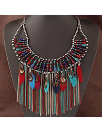 Exaggerate Multi-color Feather&tassel Decorated Collar Design Alloy Bib Necklaces