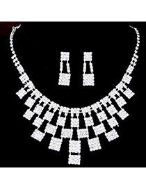 Elegant Silver Color Geometric Squares Decorated Hollow Out Design