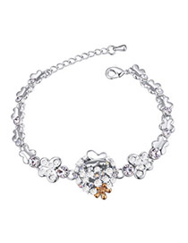 Elegant White Diamond&butterfly Decorated Simple Design  Alloy Crystal Bracelets