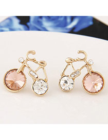 Sweet Pink Diamond Decorated Bicycle Shape Design Alloy Stud Earrings