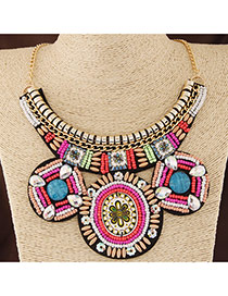 Bohemia Multi-color Round Shape Pendant Decorated Collar Design
