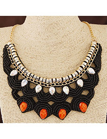 Bohemia Black Beads Dcorated Hollow Out Collar Design