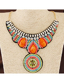 Bohemia Multi-color Beads Weave Round Shape Pendant Decorated Collar Design
