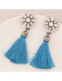 Elegant Sky Blue Round Shape Decorated Tassel Design  Alloy Stud Earrings