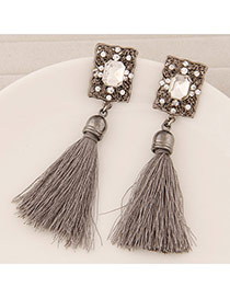 Elegant Gray Square Diamond Decorated Tassel Design