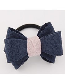 Sweet Navy Blue Big Bowknot Decorated Simple Design Rubber Hair band hair hoop