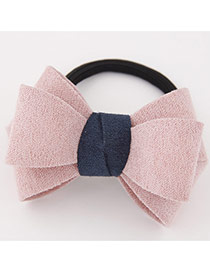 Sweet Pink Big Bowknot Decorated Simple Design Rubber Hair band hair hoop