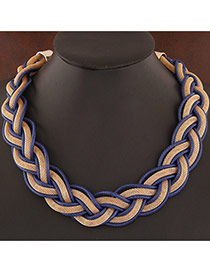 Exquisite Navy Blue Metal Chian Weave Decorated Simple Design