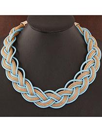 Exquisite Light Blue Metal Chian Weave Decorated Simple Design Alloy Bib Necklaces