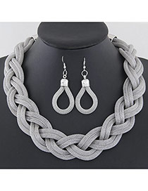Fashion Silver Color Metal Chain Weave Simple Design Alloy Jewelry Sets