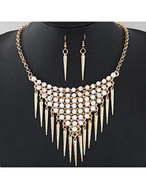 Fashion Gold Color Diamond & Rivet Decorated Tassel Design Alloy Jewelry Sets