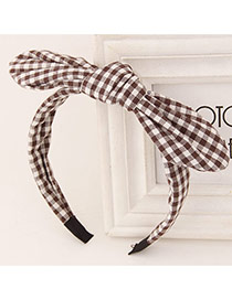 Sweet Coffee+white Bowknot Decorated Simple Design Fabric Hair band hair hoop