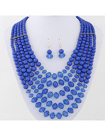 Elegant Sapphire Blue Diamond Weave Decorated Multilayer Design Alloy Jewelry Sets