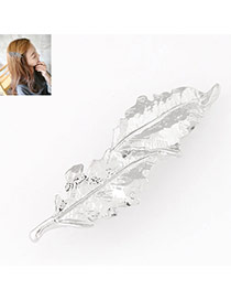 Elegant Silver Color Leaf Shape Decorated Simple Design  Alloy Hair clip hair claw