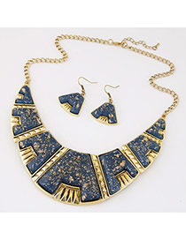 Exaggerated Blue Gemstone Decorated Geometry Shape Design  Alloy Jewelry Sets