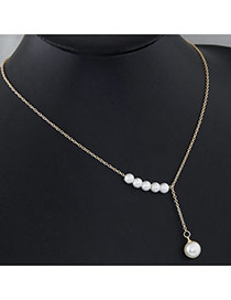 Fashion Gold Color Pearl Decorated Simple Design Alloy Chains