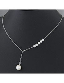 Fashion Silver Pearl Decorated Simple Design