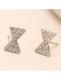 Sweet Silver Color Diamond Decorated Bowknot Shape Design(anti-allergy)  Cuprum Stud Earrings