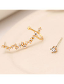Personality Gold Color Diamond Decorated Asymmetry Design(anti-allergy)  Cuprum Stud Earrings