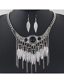 Retro Antique Silver Leaf Shape Decorated Tassel Design  Alloy Jewelry Sets