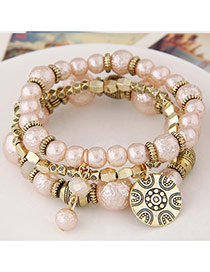 Sweet Pink Round Pendant Decorated Multilayer Design