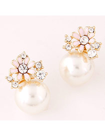 Personality Pink Pearl Decorated Flower Shape Design Alloy Stud Earrings