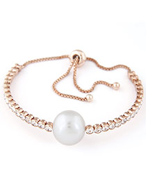 Sweet Champagne Diamond&pearl Decorated Tassel Design  Alloy Fashion Bangles