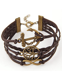 Retro Coffee Hollow Out Tree Shape Decorated Multilayer Design  Alloy Korean Fashion Bracelet