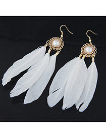 Personality White Pearl Decorated Feather Pendant Design