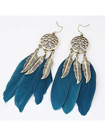 Personality Dark Blue Hollow Out Round Shape Decorated Feather Pendant Design