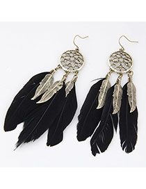 Personality Black Hollow Out Round Shape Decorated Feather Pendant Design