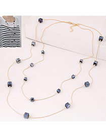 Fashion Navy Blue Square Diamond Decorated Double Layer Design Alloy Chains